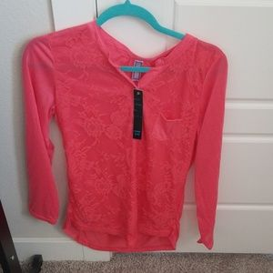 Pink Lace Front Top